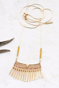 collier Woven long pêche doré de Shlomit Ofir