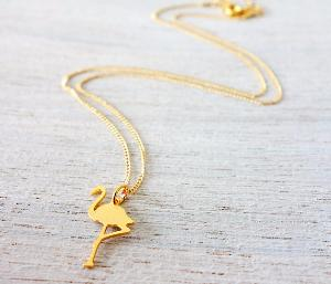 collier TINY doré flamant rose de Shlomit Ofir