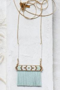 collier Indie bleu long doré de Shlomit Ofir