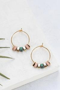 boucles Bali hoop small vert doré de Shlomit Ofir
