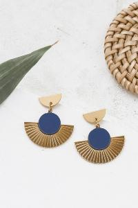 boucles Addis bleu marine argenté de Shlomit Ofir